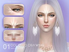 Ice queen colored drawing The Sims 4 Fairy face paint Sims 4 Cc Eyes, Sims 4 Cc Skin, Sims 4 Mods Clothes, Sims Mods, Sims 4 Cas, Sims Cc, Sims 4 Stories, Dark Circles Makeup, Alien Makeup