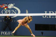 Caroline Wozniacki in action in Arthur Ashe Stadium on Day 9 of the 2014 US Open. - Corey Silvia/usopen.org
