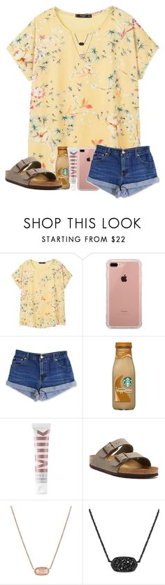 """contest entry pt 2 (:"" by arieannahicks ❤ liked on Polyvore featuring MANGO, Belkin, Levi's, MILK MAKEUP, Birkenstock and Kendra Scott"