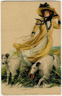 Dogs, Lady Walking with Greyhounds, Lester Ralph, Old Postcard