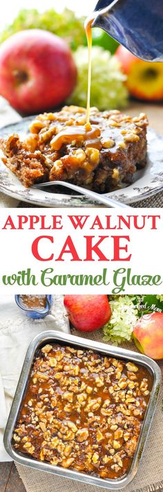 This Apple Walnut Cake with Caramel Glaze is an easy dessert for fall!