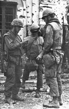 U.S. Marines in Hue, toward the end of fighting there, Vietnam, February 1968.