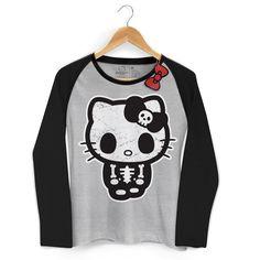 Camiseta Manga Longa Raglan Feminina Hello Kitty Skull 4 #HK #HelloKitty #bandUPStore
