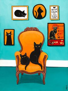 The Turquoise Room Original Black Cat Folk Art by KilkennycatArt: I Love Cats, Crazy Cats, Cool Cats, Black Cat Art, Black Cats, Black Cat Appreciation Day, Frida Art, Cat Room, Cat Posters