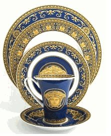 On My Table  Formal Dinnerware  Versace  Versace China Medusa Blue Place Setting  sc 1 st  Pinterest & Vetro Gold Charger Plate   Dinnerware Gold and Table settings