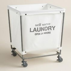 a chic take on the classic laundromat cart our rolling hamper features a removable cotton
