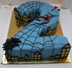 Inspiration for next week's pink all spiderman cake Fancy Cakes, Cute Cakes, Fondant Cakes, Cupcake Cakes, All Spiderman, Novelty Birthday Cakes, Number Cakes, Superhero Cake, Cakes For Boys