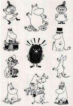 Bilderesultat for moomin line art Moomin Tattoo, Les Moomins, Theme Tunes, Moomin Valley, Art Manga, Drawn Art, Tove Jansson, Art Graphique, Little My