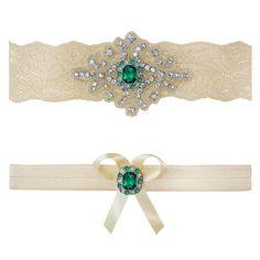Emerald Green Ivory White Lace Bridal Garter Belt Wedding Set Keepsake Toss Shower Gift Rustic Beach Spring by ContessaGarters on Etsy