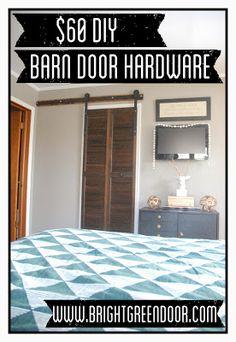$60 Affordable DIY Barn Door Hardware www.BrightGreenDoor.com