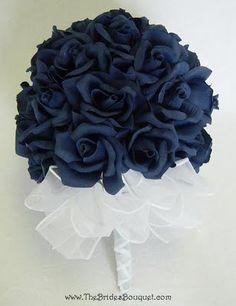 Brides bouquet: Navy Blue Wedding Flowers, maybe add a dash of baby's breath Navy Wedding Flowers, Elegant Flowers, Wedding Colors, Wedding Bouquets, Navy Flowers, Navy Blue Wedding Theme, Blue Bridal, Orange Flowers, Elegant Wedding