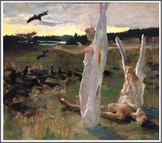 Risultati immagini per akseli gallen kallela Albert Bierstadt, Scandinavian Paintings, Dying Of The Light, Prince, I Believe In Angels, Life Paint, Guardian Angels, Traditional Paintings, Artists