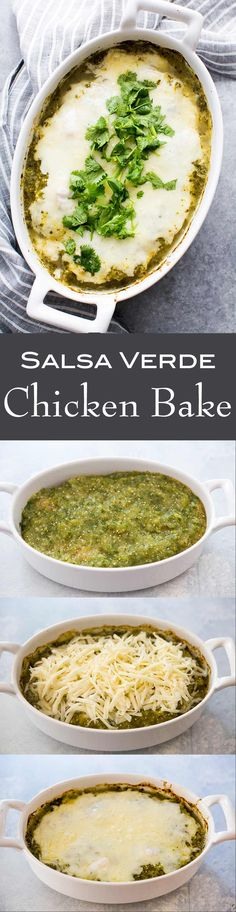 EASY 1-Pot 30 minute Salsa Verde Chicken Bake! Chicken breasts baked in tomatillo salsa verde sauce, topped with melted jack cheese. #glutenfree #1pot #easydinner #SalsaVerde