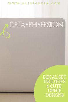 The perfect DPHIE laptop decal from www.alistgreek.com! #sororitysticker #greekletters #sororityletters #cardecal #laptopsticker #statesticker #sticker #decal #deltaphiepsilon #dphie #dphiesticker #dphiedecal #biddaygifts