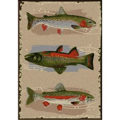 Pebble Creek Trout Rug - 3 x 4