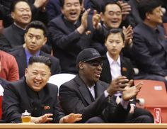 North Korean leader Kim Jong Un, left, and former NBA star Dennis Rodman watch North Korean and U.S. players in an exhibition basketball game at an arena in Pyongyang, North Korea, Feb. 28, 2013. Rodman arrived in Pyongyang on Monday with three members of the Harlem Globetrotters basketball team to shoot an episode on North Korea for a new weekly HBO series. (Jason Mojica/VICE Media via AP )