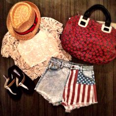 America the beautiful!!! Summers around the corner and it's time for you to rock some stars & stripes! Show a little patriotic love in this laydown #ootd Sandals ($24.99) flag shorts ($22.99 online) bandeau ($6.99) crochet top ($24.99 online) fedora ($14.99) handbag ($39.99) available in store at #4thandocean or call to order at 407.878.6656 #flag #shorts #ootd #america #stars #stripes #patriotic #need