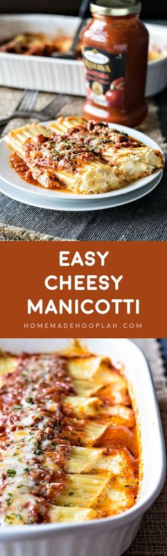 Easy Cheesy Manicotti! Bring a restaurant classic to your dinner table with this easy cheesy recipe! Use Bertolli marinara sauce and cut your cook time in half! | HomemadeHooplah.com