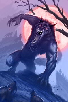 Werewolf Tattoo, Werewolf Art, Fantasy Creatures, Mythical Creatures, Dark Fantasy, Fantasy Art, Wolf Hybrid, Vampires And Werewolves, Creatures Of The Night