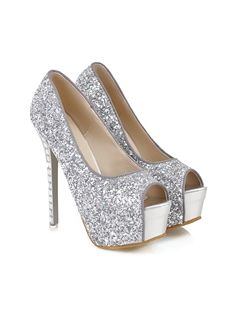 Shining Peep Toe Sequin Stiletto Heel Popular Prom Shoes⊰⊹✿  http://www.ericdress.com/list/cheap-stiletto-sandals-101991/17/