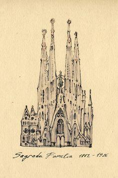 Barcelona on Illustration Served, Sagrada Familia, by Katia Sergeeva