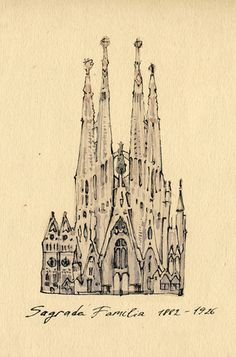 La Sagrada Familia in Barcelona. Love this ink sketch.