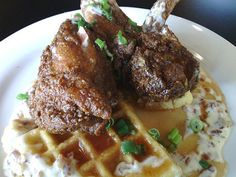 Fried chicken and cornmeal waffles.