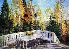 Autumn. Verandah, Stanislav Zhukovsky Yulianovich. Russian (1873-1944)