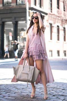 Shirt: wendy's lookbook blogger ruffle ruffle dress sleeveless coat celine bag all pink everything