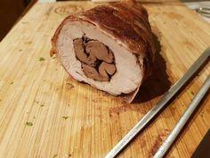 Csirkemájjal töltött szűzpecsenye bacon köntösben gombamártással | Eőry Edina receptje - Cookpad receptek Bacon, Pork, Kale Stir Fry, Pork Chops, Pork Belly