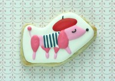 cute french poodle decorated cookie