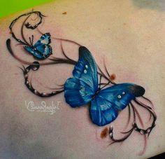 Cool 3D butterfly tattoo