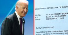 Joe Biden Sent His Employees a Memo About Spending Time With Family