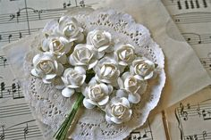 24 Handmade Paper Flowers White by TheSalvage on Etsy, $2.50