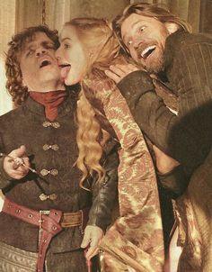 'Game Of Thrones'  -  Peter Dinklage, Lena Headey & Nikolaj Coster-Waldau playing around during a photoshoot