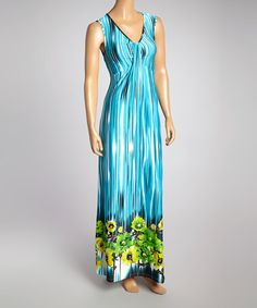 Love this Turquoise & Green Tie-Dye Maxi Dress - Women on #zulily! #zulilyfinds