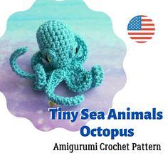 Amigurumi mini Octopus Crochet Pattern | Etsy Octopus Crochet Pattern, Quick Crochet Patterns, Crochet Patterns Amigurumi, Selling Crochet, Tiny Turtle, Rope Crafts, Handmade Crafts, Handmade Ideas, Etsy Handmade