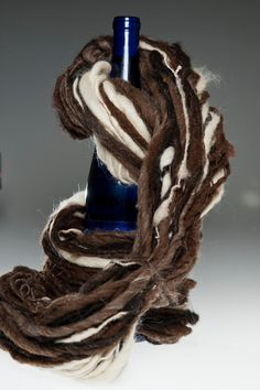 Blowin' in the Wind  llama alpaca wool mohair naturally colored handspun yarn by girlwithasword, $43.00