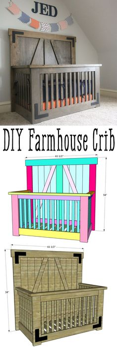 LOVE this DIY Farmhouse Crib by Free plans and tutorial on how to build your own crib. furniture farmhouse DIY Farmhouse Crib - Free Tutorial and Plans - Shanty 2 Chic Baby Crib Diy, Baby Nursery Diy, Baby Boy Rooms, Baby Boy Nurseries, Baby Cribs, Baby Room, Nursery Ideas, Nursery Decor, Baby Decor
