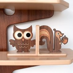 Woodland forest friends bookends. These are beyond adorable and I'm really loving the idea of adding wood grain elements to the room. Unfortunately, at $160 for two, they're way outside our price range. Maybe I can find a close alternative. #nursery #forestfriends