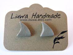 Shark Fin Earrings Rhino Gray Clay Post Earrings Surgical by Liuwa, $10.00