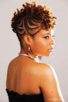 American and African Hair Braiding : Braided to short mohawk of curls Natural Hair Braids, Braids For Short Hair, Natural Updo, Color Castaño, Colors, Short Mohawk, Braided Mohawk Black Hair, Curly Hair Styles, Natural Hair Styles