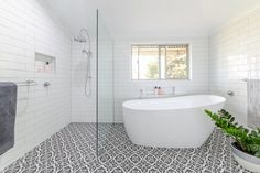 Modern vintage bathroom renovation by Northern Rivers Bathroom Renovations in Lismore NSW White subway tile with grey grout and black and white patterned floor tile. Bathroom Mirror Storage, Painting Bathroom Cabinets, Bathroom Layout, Bathroom Wall Decor, Bathroom Styling, Bathroom Ideas, Grey Bathrooms, Small Bathroom, White Bathroom