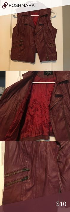 Vest Faux leather maroon vest! It's BEAUTIFUL!! pics don't do it any justice!!! Size 'LARGE' but fits more like a medium Jackets & Coats Vests