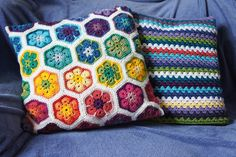 Crochet daisy cushion