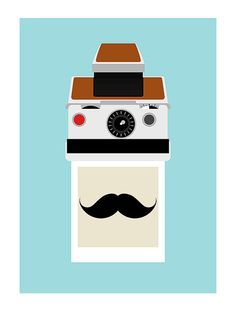 Polaroid inspired print 'Instant Moustache' by Yumalum