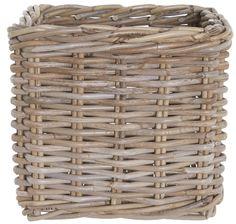 Grey Rattan Storage Cube Basket - Medium (Set of 2)