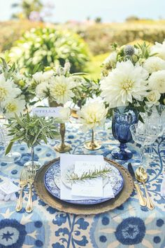 California Wedding Decor: An Italian-Inspired Styled Shoot with Mediterranean Blues and Creamy Whites at La Venta Inn