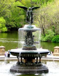 Photo of the Bethesda fountain statue in Central Park, New York City