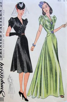 1940's Designer Clothing For Women Patterns S S Dresses